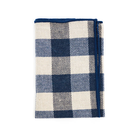 Steel Blue Plaid Pocket Square