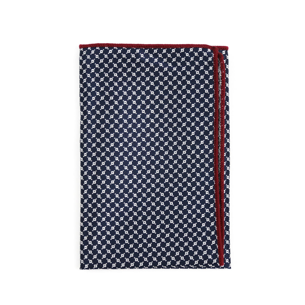 Navy Patterned Pocket Square