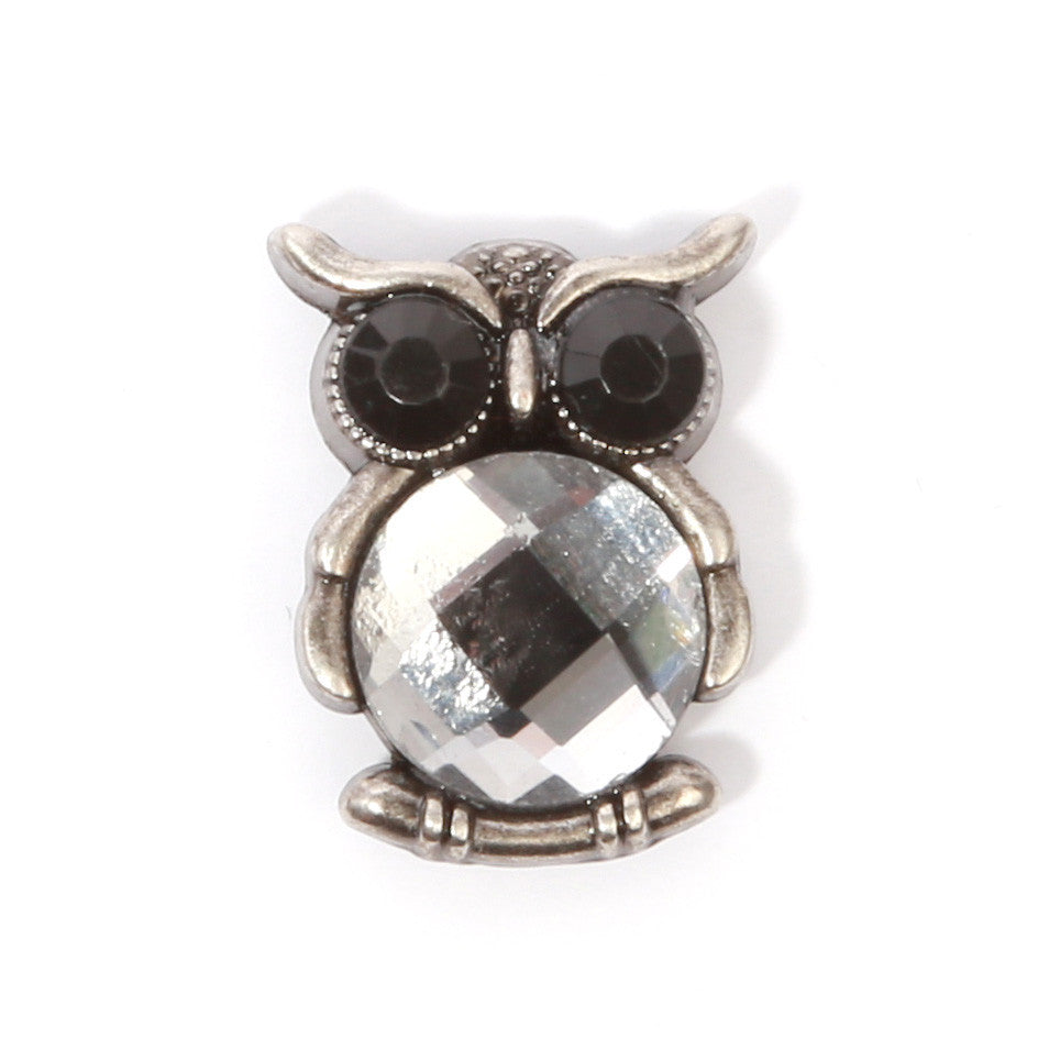 Jeweled Owl Collar Pin