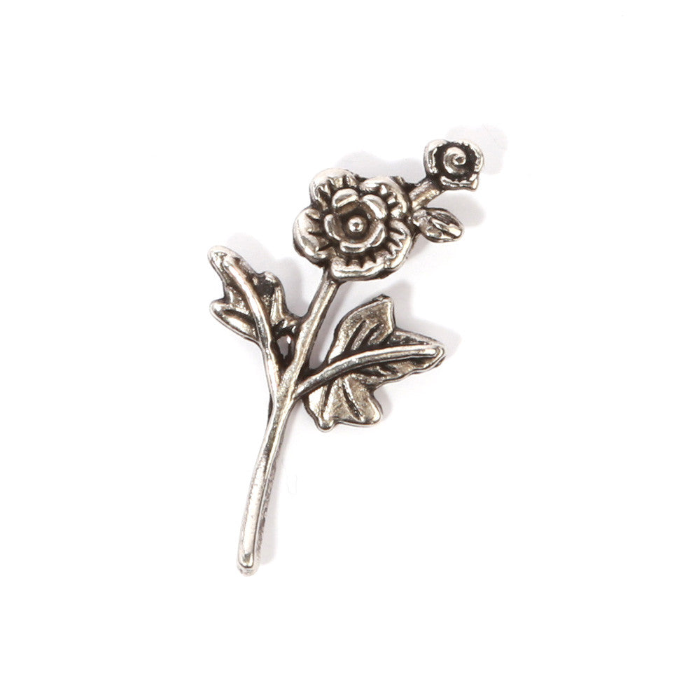 Silver Flower Collar Pin