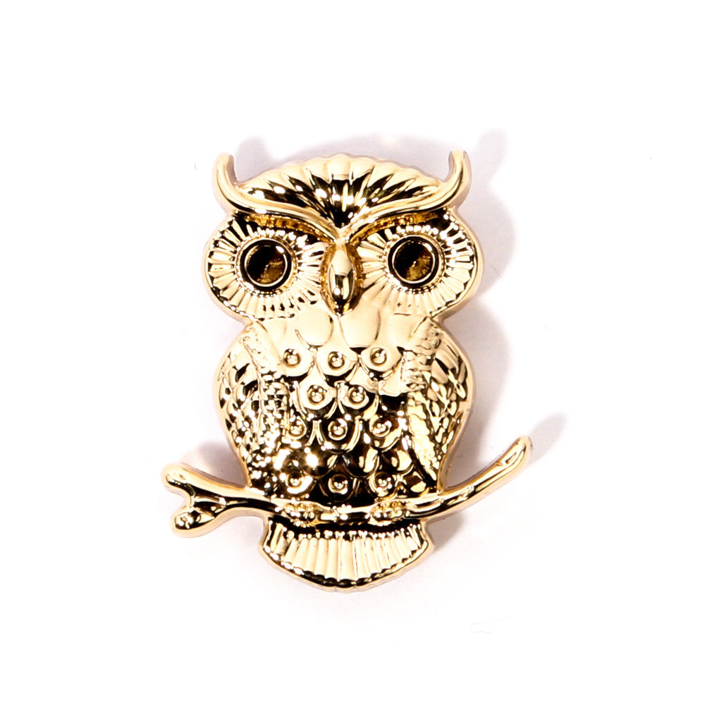 Gold Owl Collar Pin