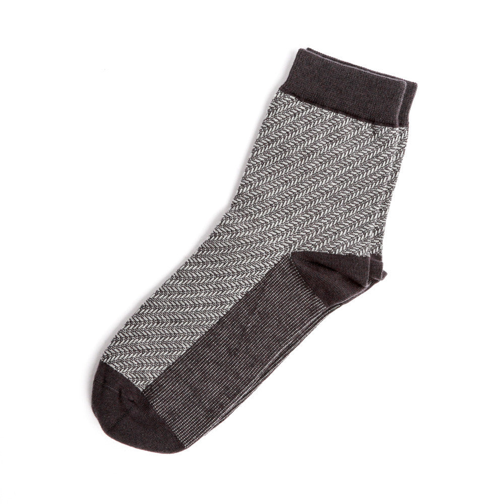 Mid Length Diagonal Herringbone Sock