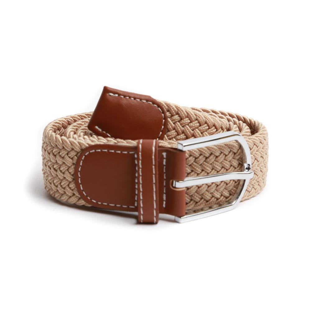 Tan Braided Elastic Belt