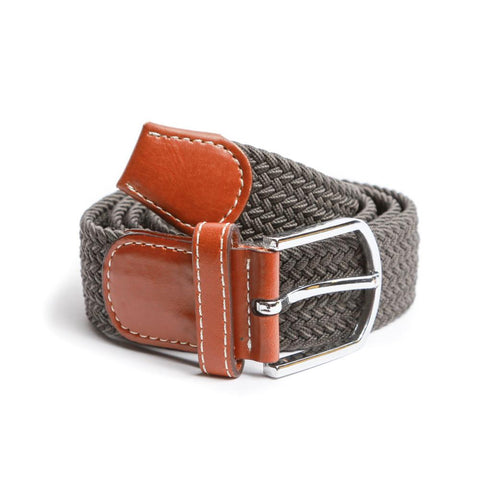 Grey Braided Elastic Belt