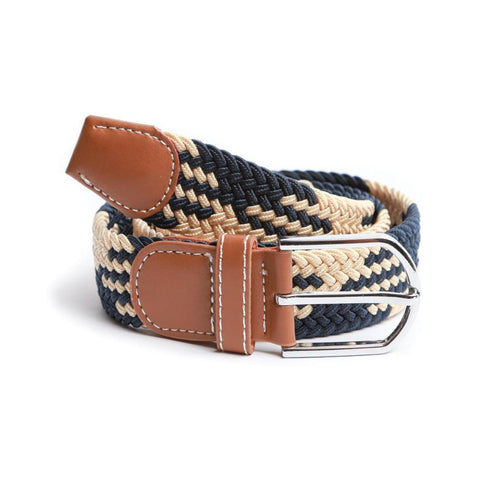 Tan & Navy Braided Elastic Belt
