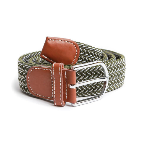 Olive with White Pin Stripe Braided Elastic Belt