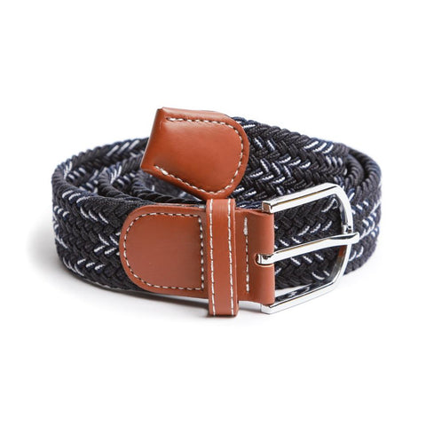 Navy & White Braided Elastic Belt