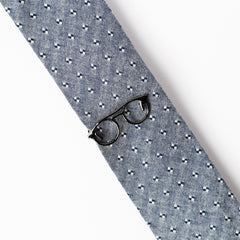 Silver Glasses Tie Bar