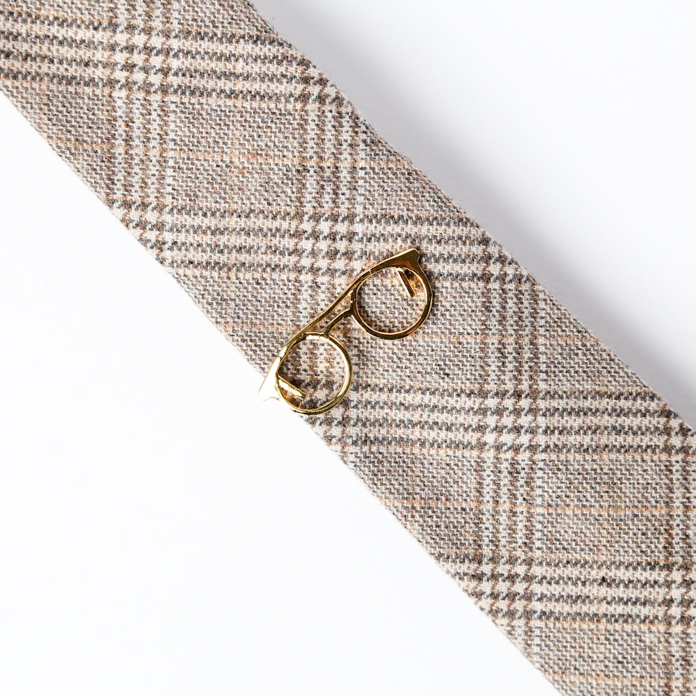 Gold Glasses Tie Bar