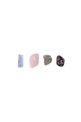 aquarius crystal set from love by luna - blue kyanite, rose quartz, pyrite, rhodonite