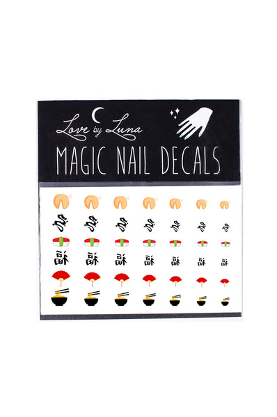 asian nail decals rice chinese fortune cookie mushroom