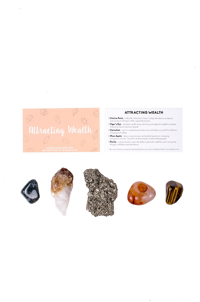 attracting abundance crystal set from love by luna - citrine point, tigers eye, carnelian, moss agate, pyrite