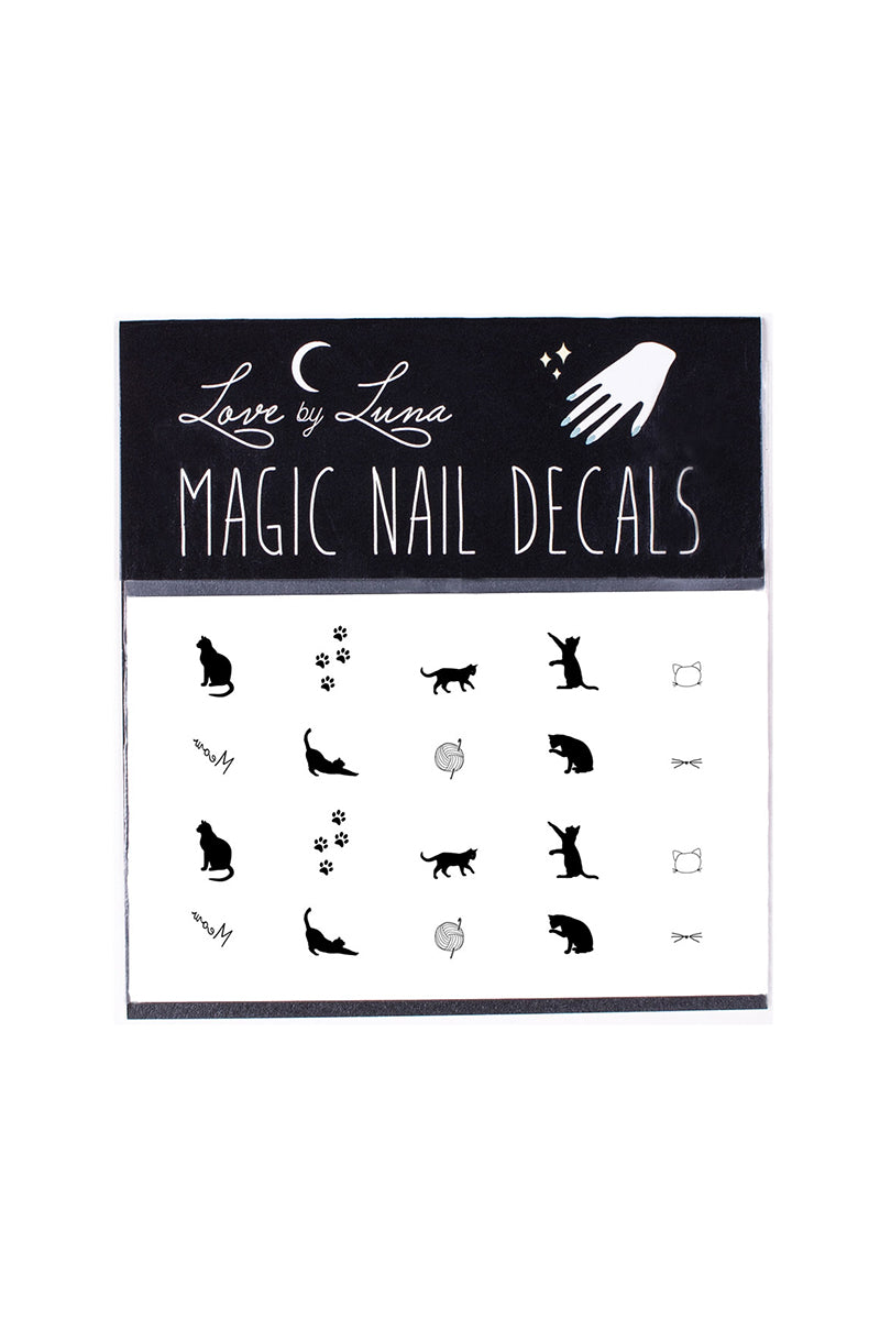 black cat nail decals silhouette