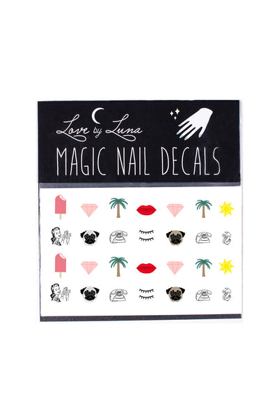 cali girl nail decals palm tree hearts lips pugs ice cream sun
