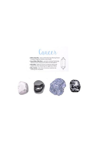 cancer crystal set from love by luna - white howlite, snowflake obsidian, hematite, blue calcite