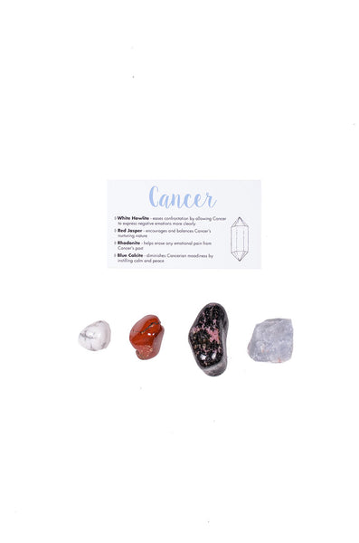 cancer crystal set from love by luna - white howlite, red jasper, rhodonite, blue calcite