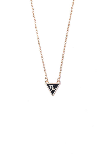 gold plated zinc alloy capricorn triangle necklace from love by luna