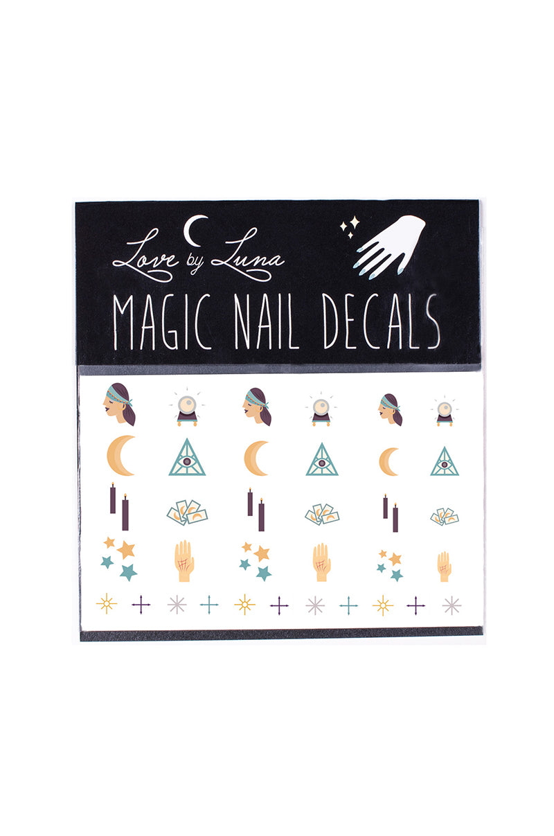 fortune teller nail decal crystal ball tarot stars crescent