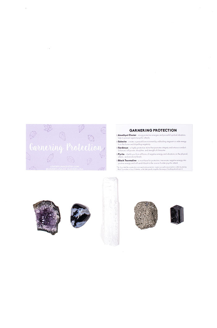 Garnering Protection Crystal Set from love by luna - amethyst, selenite, sardonyx, pyrite, black tourmaline