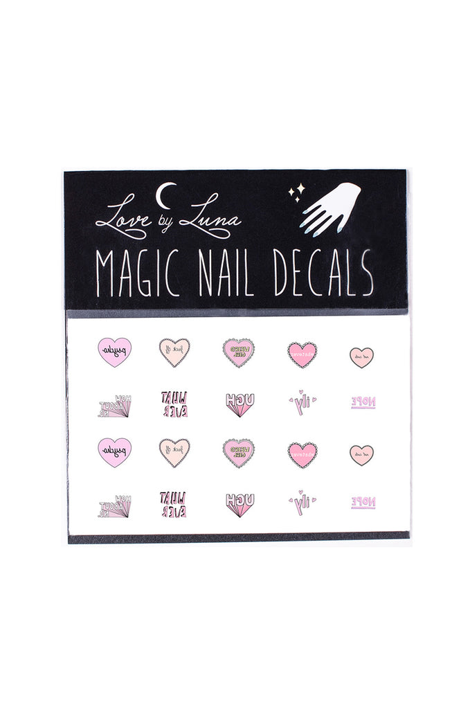 heart nail decals pink girly