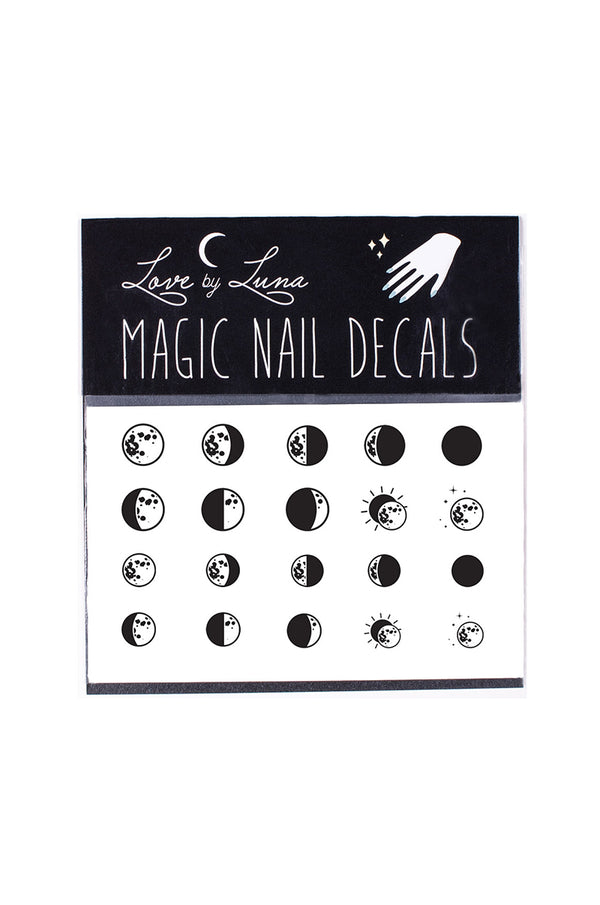 moon phase nail decals half moon full crescent waning waxing