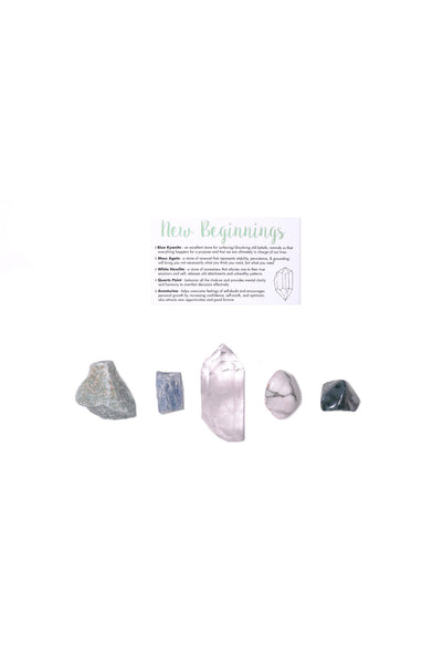 new beginnings crystal set blue kyanite moss agate white howlite quartz point aventurine
