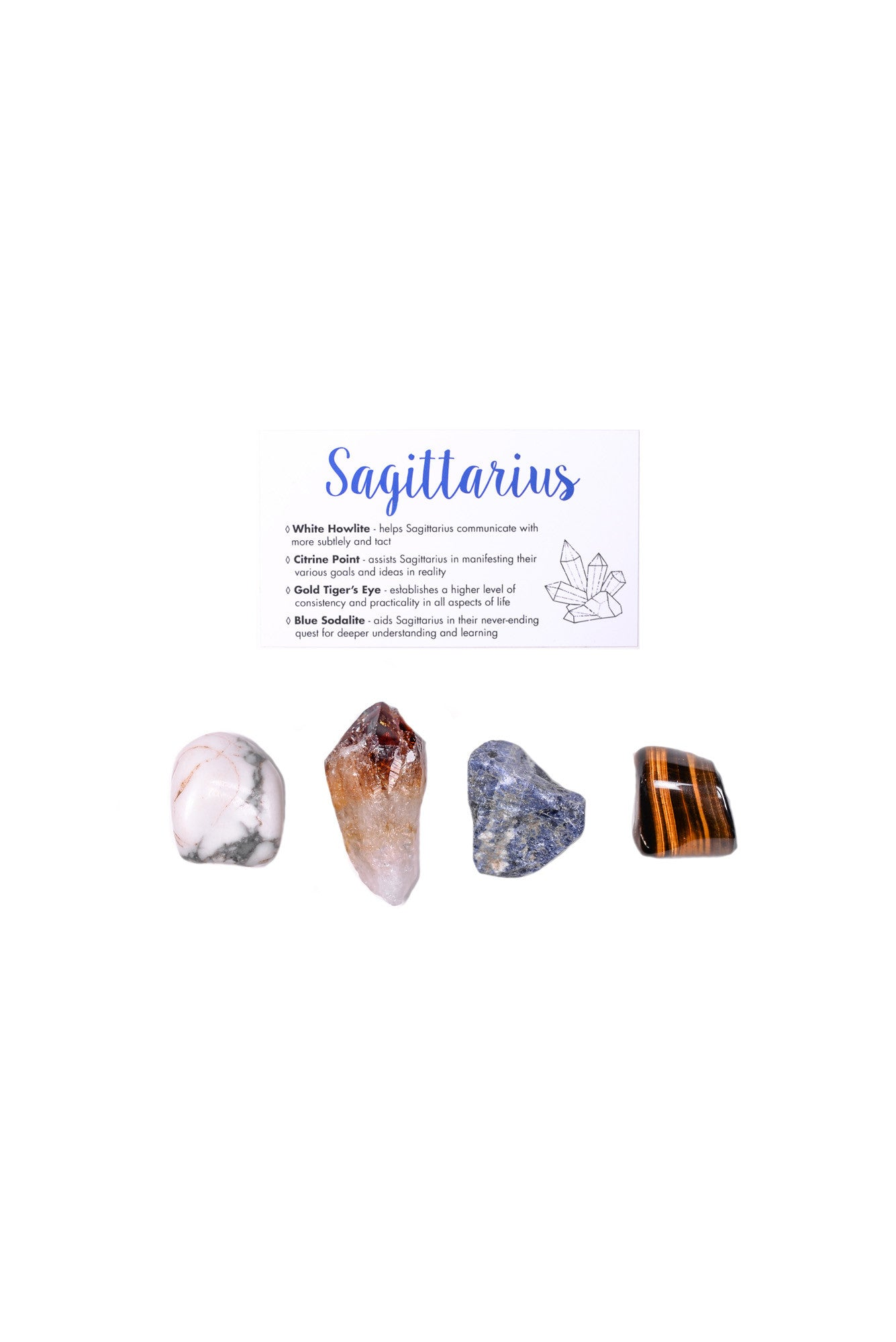 Sagittarius crystal set white howlite citrine point gold tigers eye blue sodalite