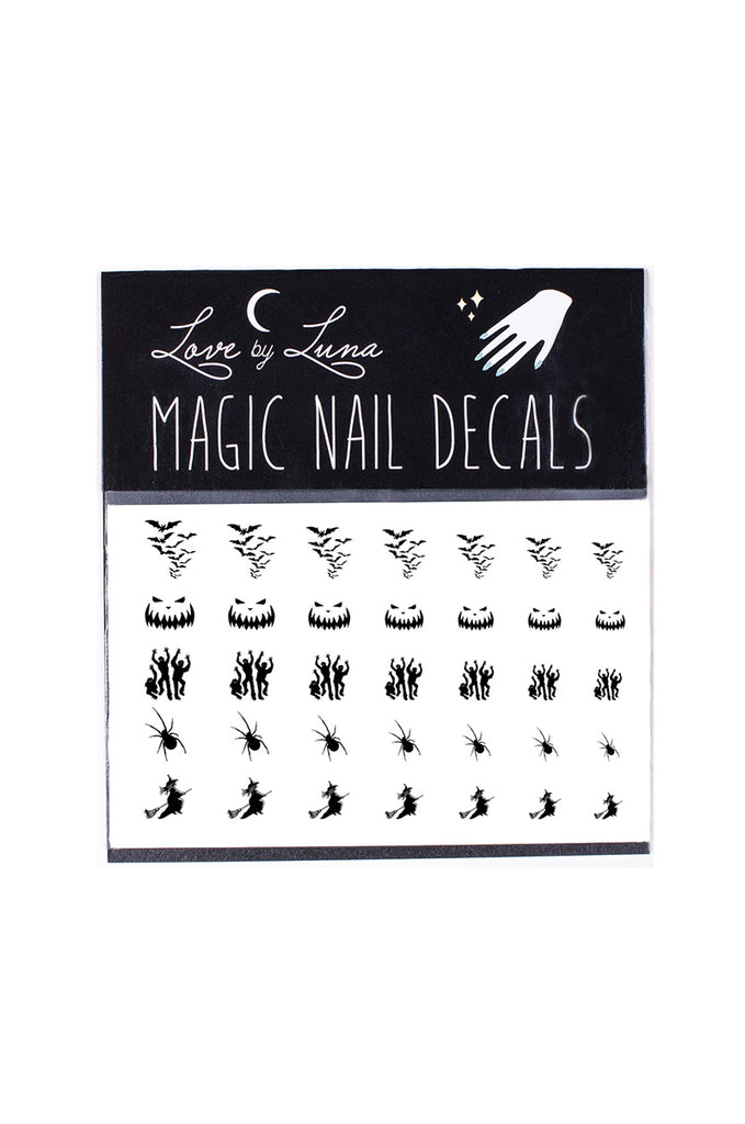 scary halloween nail decals witch spider pumpkin bats spooky