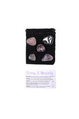 Stress & Anxiety Tumbled Crystal Set rose quartz amethyst hematite quartz black tourmaline rhodonite