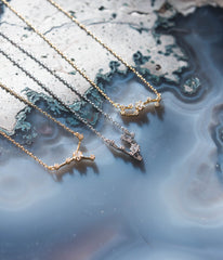Pisces Constellation Necklace - Gold & Silver (14 Karat Gold / 24 Karat White Gold Dipped Options)