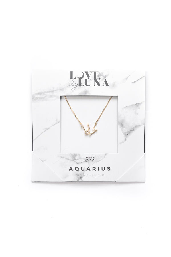 Aquarius Constellation Necklace - Gold & Silver (14 Karat Gold / 24 Karat White Gold Dipped Options)