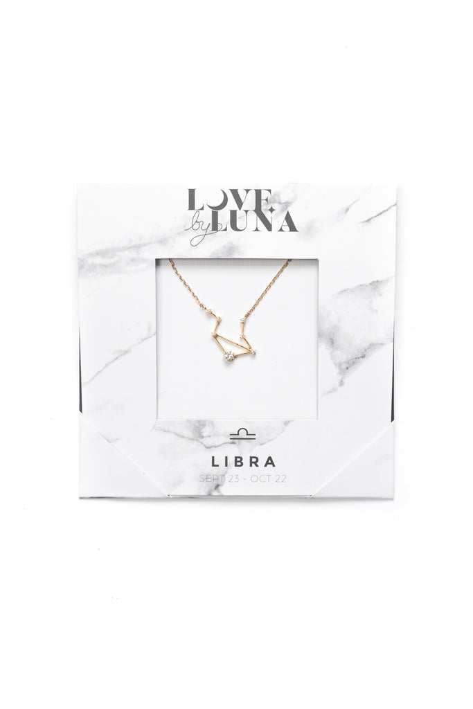Libra Constellation Necklace - Gold & Silver (14 Karat Gold / 24 Karat White Gold Dipped Options)