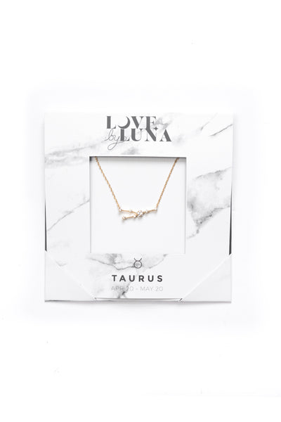 Taurus Constellation Necklace - Gold & Silver (14 Karat Gold / 24 Karat White Gold Dipped Options)