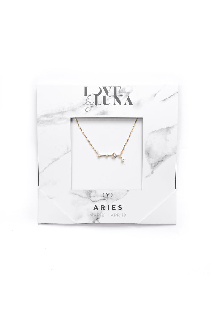 Aries Constellation Necklace - Gold & Silver (14 Karat Gold / 24 Karat White Gold Dipped Options)