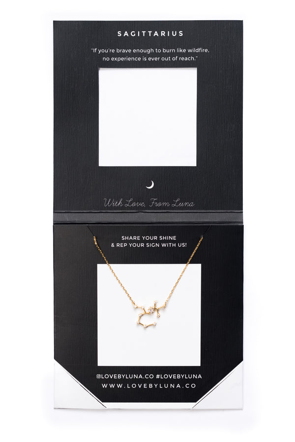 Sagittarius Constellation Necklace - Gold & Silver (14 Karat Gold / 24 Karat White Gold Dipped Options)