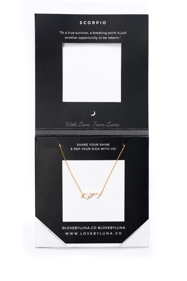 Scorpio Constellation Necklace - Gold & Silver (14 Karat Gold / 24 Karat White Gold Dipped Options)
