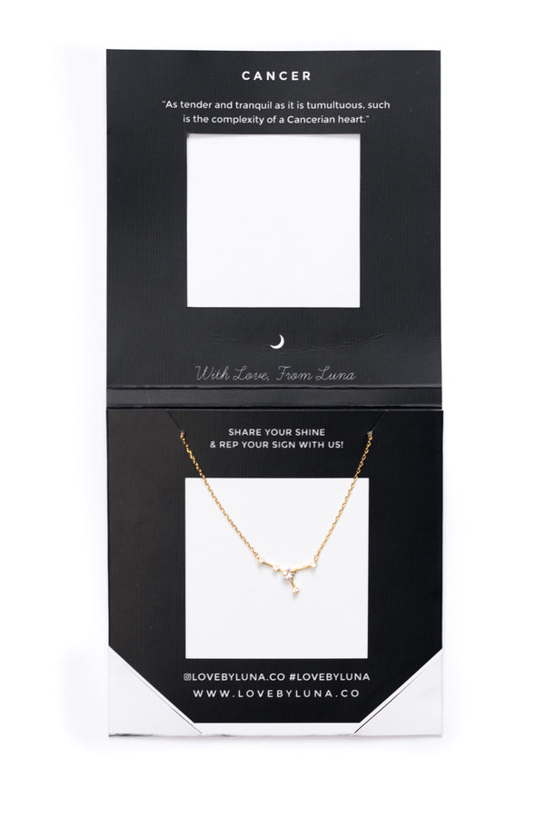 Cancer Constellation Necklace - Gold & Silver (14 Karat Gold / 24 Karat White Gold Dipped Options)