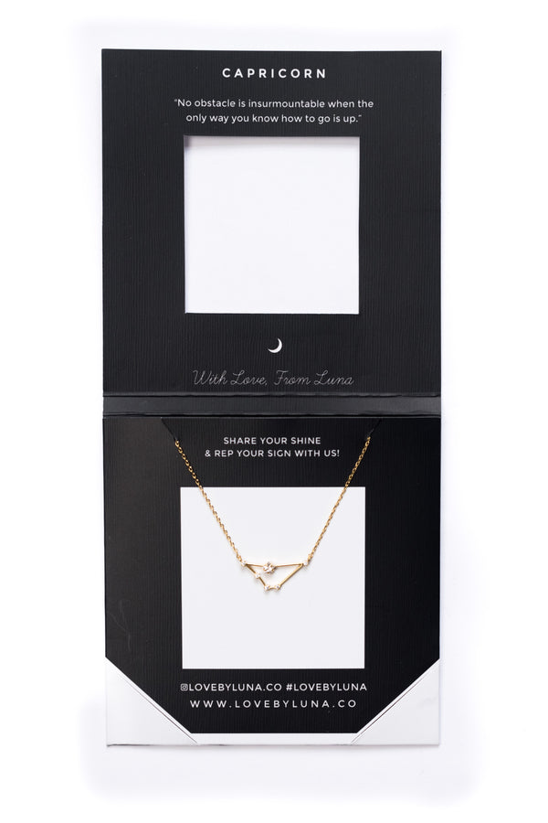 Capricorn Constellation Necklace - Gold & Silver (14 Karat Gold / 24 Karat White Gold Dipped Options)
