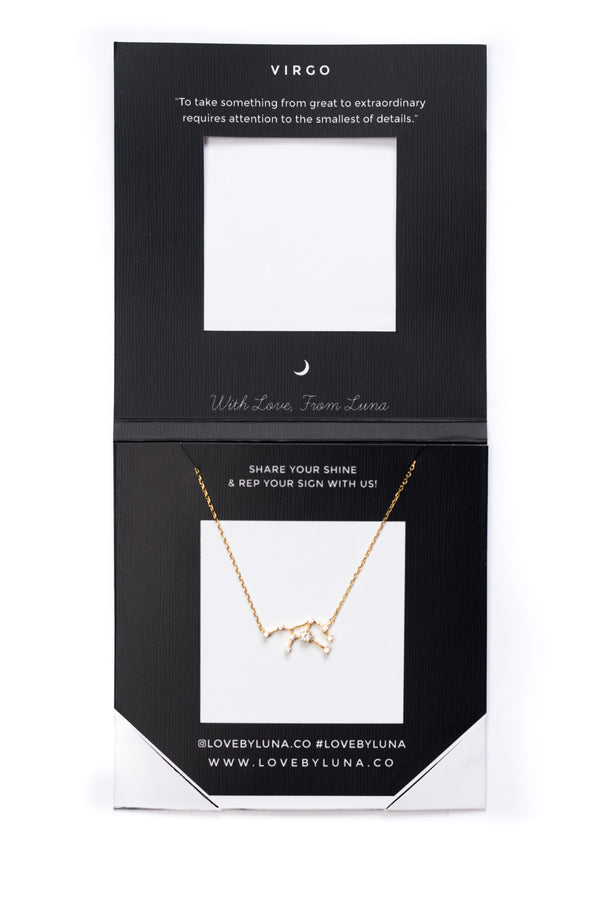 Virgo Constellation Necklace - Gold & Silver (14 Karat Gold / 24 Karat White Gold Dipped Options)