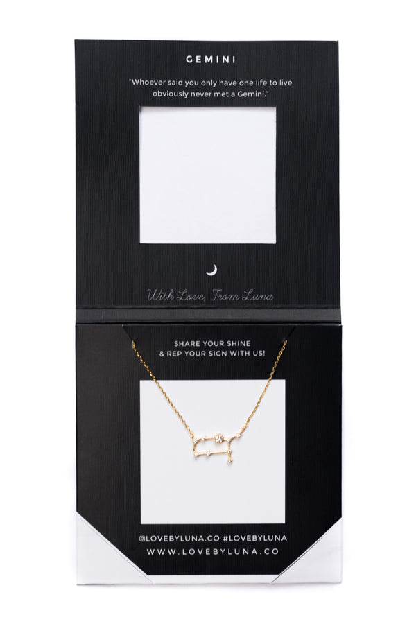 Gemini Constellation Necklace - Gold & Silver (14 Karat Gold / 24 Karat White Gold Dipped Options)