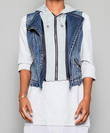Pico Hooded Denim Vest