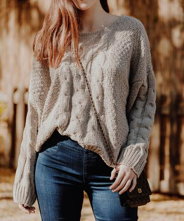 Sark Taupe Cable Knit