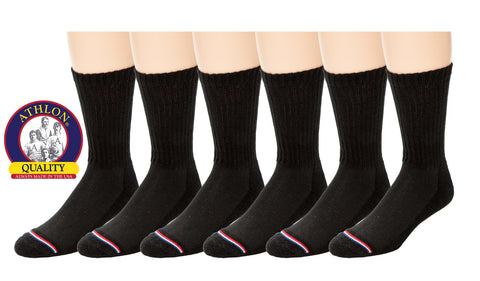 ATHLON® - Men's Black Acrylic Crew Sock