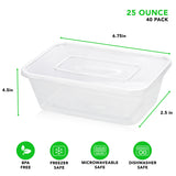 Plastic Food Storage Containers with Lids 25 oz - Meal Prep Containers with Lids - Freezer Safe, BPA Free, Reusable (Set of 40)