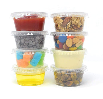 2 oz plastic portion cups with lids, Jello Shot Cups (150 Sets) -Condiment Cups- Small Containers for Souffle, Salad Dressing, Sauces, Dips and More