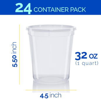 Healthy Packers Premium Deli Cups Food Storage Containers. 100% Leakproof. Freezer, Microwave and Dishwasher Safe (32 oz)