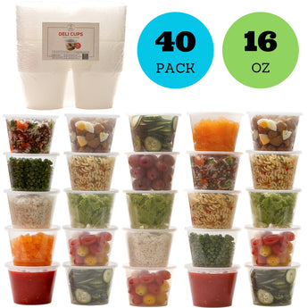 Reusable Food Storage Containers with Lids - Deli Cups - Great for Baby Food, Kids Lunch Boxes, Slime and General Storage - Airtight, Freezer, Microwave and Dishwasher Safe (16 ounces, 40 pack)