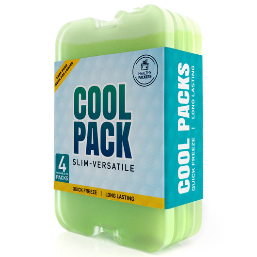 Healthy Packers Green Gel Slim Long-Lasting Ice Packs for Lunch Box or Cooler Bag (4 or 8 pack)