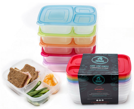 Healthy Packers 3 Compartment Reusable Bento Food Prep Containers Lunc