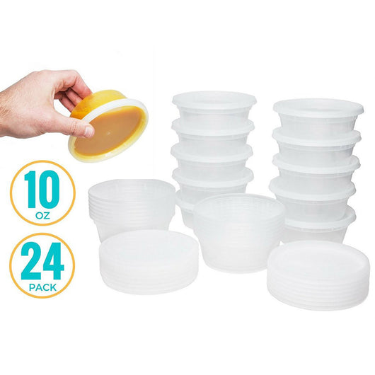Healthy Packers Extra-Thick Deli Cups, Food Storage Containers. 100% Leakproof. Freezer, Microwave and Dishwasher Safe (24 pack - 10 oz)